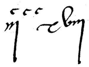 318 en chiffre romain (foliotation d'un acte notarié du 26 mai 1572) avec redondance pour les centaines : CCCXVIII aurait suffi, ou IIICXVIII. Le chiffre en exposant est multiplié par celui qui le précède (invention médiévale), si bien que l'on pourrait lire 918 (3 × 300 + 18)..