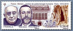 Timbre émis en commun par la France et Monaco pour le centenaire de l'Institut dessiné et gravé par Claude Andreotto