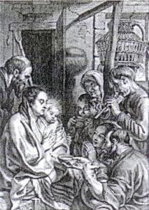 Fig. 3/ L'Adoration des bergers. Gravure de Marinus Van der Goes d'après Jacob Jordaens.