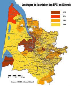 Fig 1 Étapes de lacréation des EPCI en Gironde