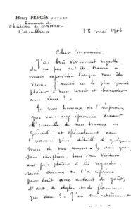 Fig. 16 - Première page d'un courrier adressé par Henri Frugès à l'auteur