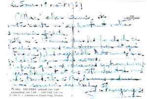 Fig. 2 - Carte de vacance adressée par Mme J. Flaugergues à l'auteur.