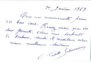 Fig. 3 - Carte de vœux envoyée par Mme P. Sabourin à l'auteur.