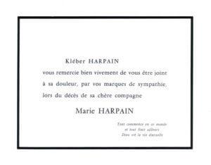 Fig. 4 - Carte de remerciement de M. K. Harpain aux condoléances que lui a adressées l'auteur lors du décès de son épouse.