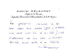 Fig. 6 - Courrier adressé par le préfet G. Delaunay à l'auteur.