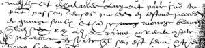 """Emploi de """"nombré"""" dans une quittance du 11 décembre 1590, au début de la dernière ligne : Mestey et Delalande luy ont paié sur le présent passement de ses (sic) présentes en testons, pièces de quinze soulx et autre monoye blanches, que ledict Rey a heu, prins, & receu [= eu, pris, & reçu], compté et nombré, de sorte qu'il s'en est tenu et tyent [pour bien comptant (sic)].."""