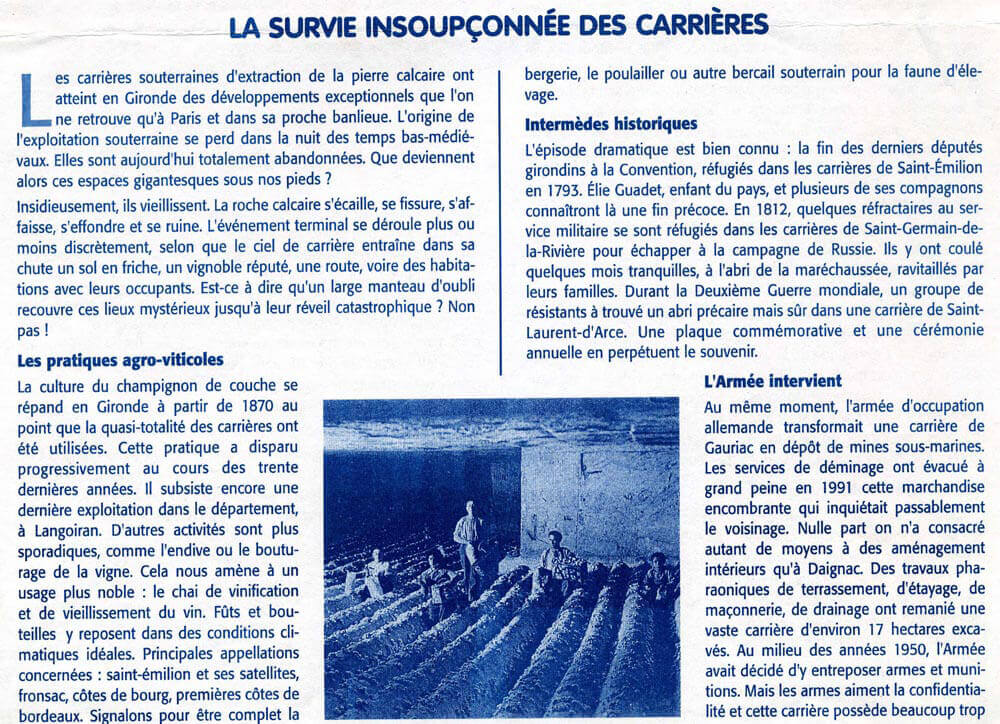 La survie insoupçonnée des carrières - MSA Nov 200
