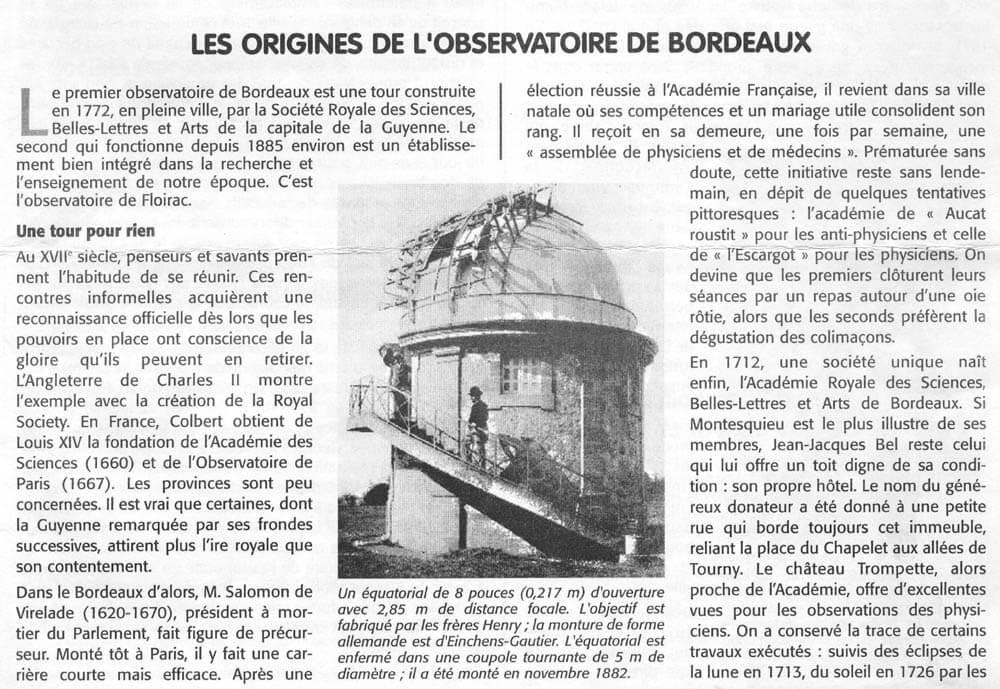 Les origines de l'observatoire de Bordeaux msa octobre 2000 p1