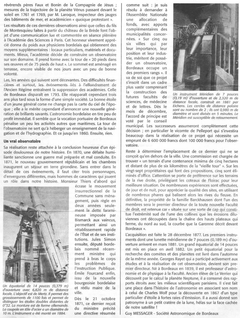 Les origines de l'observatoire de Bordeaux MSA octobre 2000 p2
