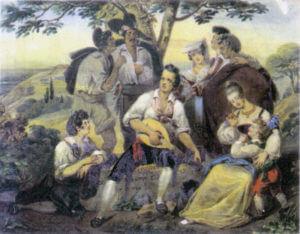Fig. 1/ Théophile Lacaze (1799-1846). Un concert en Italie (gouache).